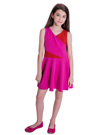 Girl's Kiera Knit Colorblock Swing Dress, Size 7-16