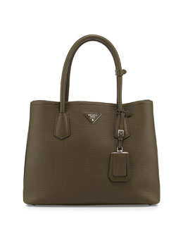 Daino Pebbled Leather Medium Double Bag