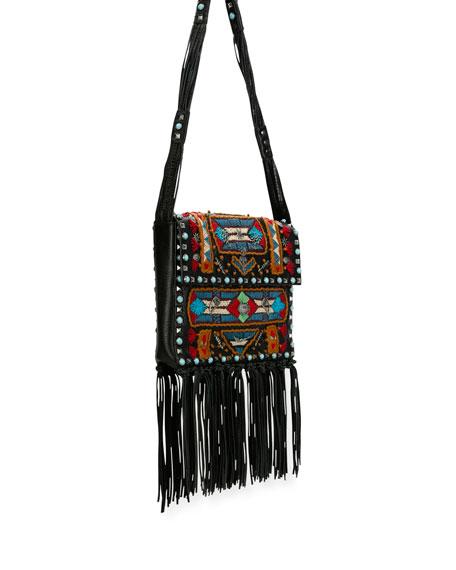 Rockstud Rolling Embroidered Fringe-Trim Leather Crossbody Bag