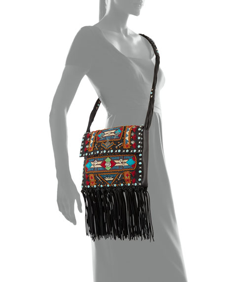 Rockstud Rolling Embroidered Fringe-Trim Leather Crossbody Bag