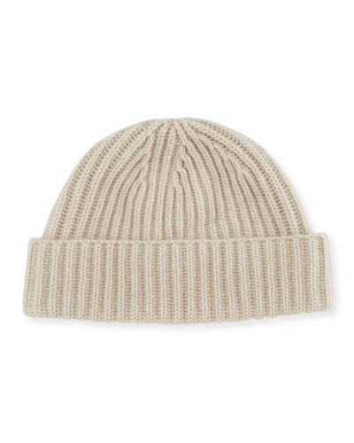 Rib-Knit Cashmere Hat  Ivory
