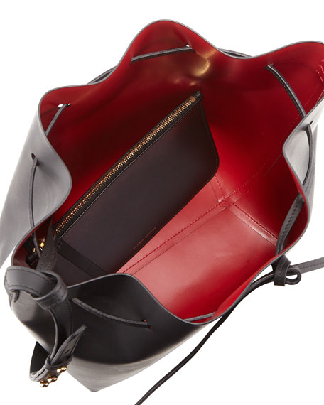 Structured Leather Bucket Bag, Black/Red