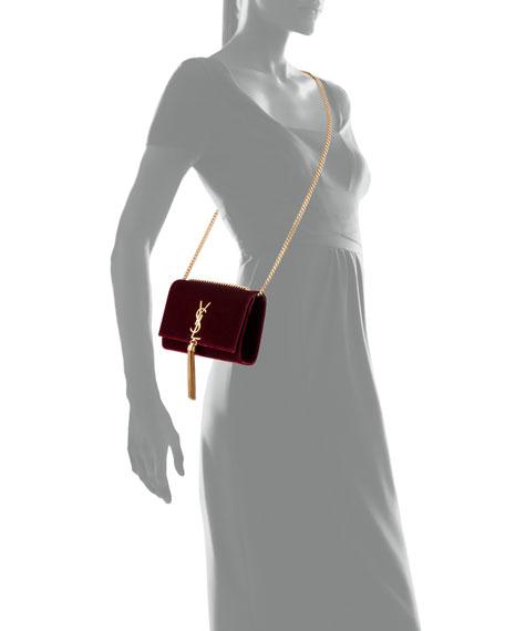 Kate Small Monogram Velvet Tassel Bag