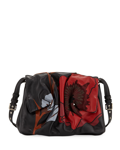 Bloomy Floral Calf Leather Shoulder Bag