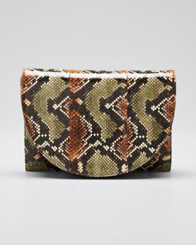 Small Snakeskin Flap Shoulder Bag