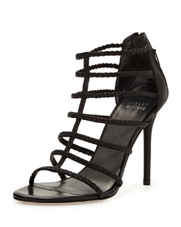 Stuart Weitzman Truelove Strappy Leather Sandal, Black