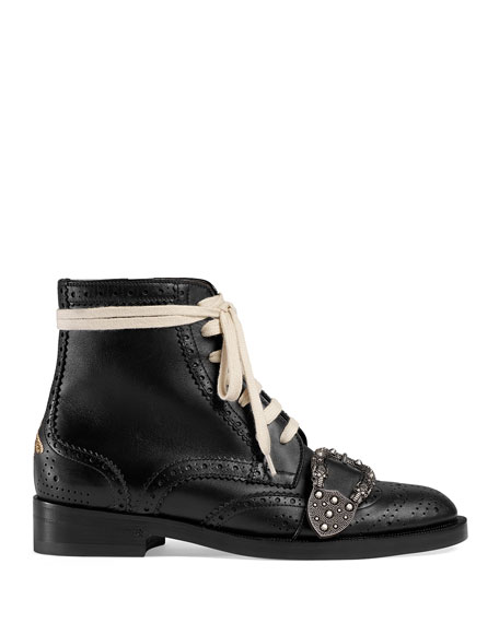 bbd3aebd500c7b Gucci Flat Queercore Lace-Up Leather Boots