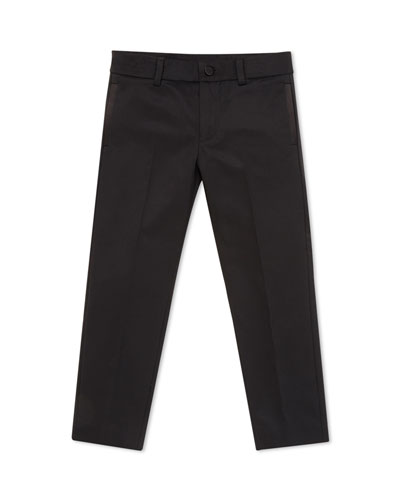 Wool-Blend Pants with Satin Trim, Black, Kids' Sizes 4-12