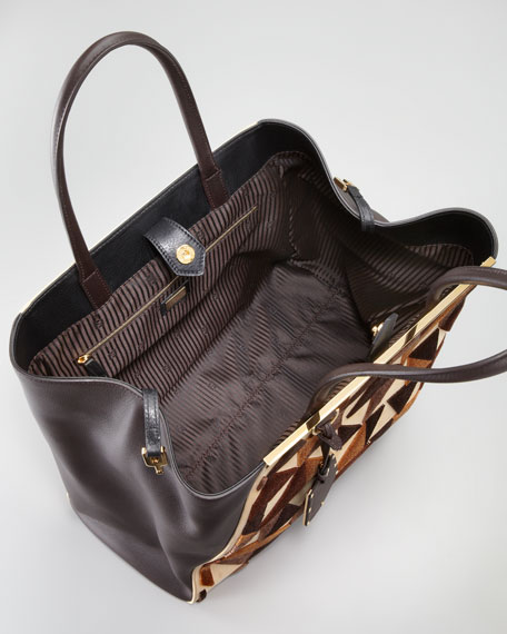 2Jours Cut-Velvet Pattern Leather Tote Bag