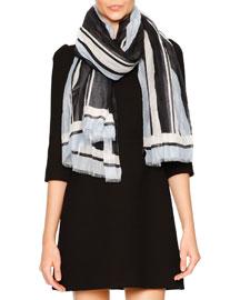 Striped Cotton Scarf, Navy/Black/Light Blue