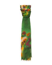 Grand Hedge Floral-Print Cashmere/Silk Scarf, Multi