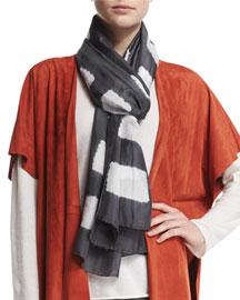 Square Block-Striped Shibori Silk Scarf, Gray