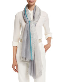 Wind Flower Stola Aylit Scarf, Turquoise/Light Gray