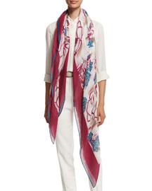 Spring Rose-Print Cashmere/Silk Scarf