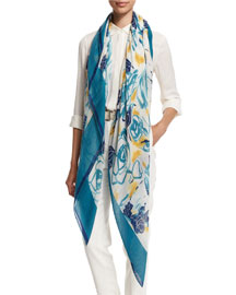 Spring Rose-Print Cashmere/Silk Scarf, Turquoise