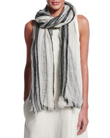 Striped Linen Rugby Scarf, White/Black