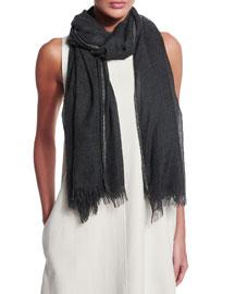 Monili-Trimmed Cashmere/Silk Scarf, Dark Gray