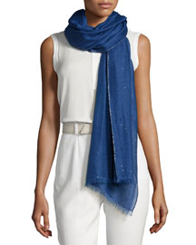 Eve San Lorenzo Crystal-Embellished Scarf, Sea Blue