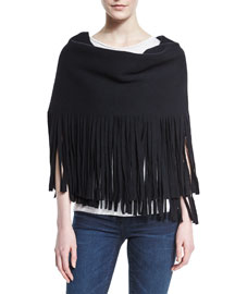 Solid Felted Fringe Scarf, Black