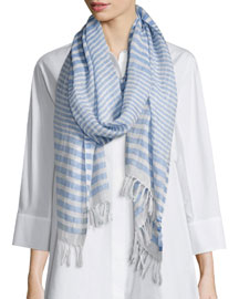 Striped Silk-Linen Fringed Scarf, Azure