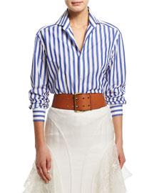 Wide Vachetta Leather Belt, Tan