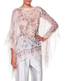 Bateau-Neck Floral-Print Silk Tunic, Ivory