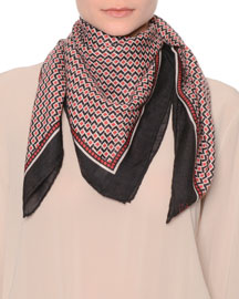 Printed Cashmere-Silk Scarf, Red/White/Black