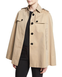Wolseley Trench-Collar Cape Jacket, Honey