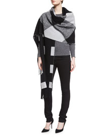 Oversized Patchwork Cashmere Scarf, Black/White