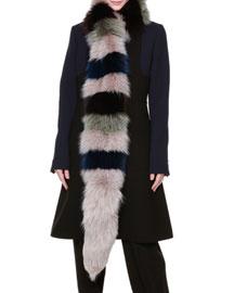Tricolor Arctic Fox Fur Scarf, Blue/Green