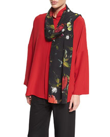 Floral-Print Silk Scarf, Black