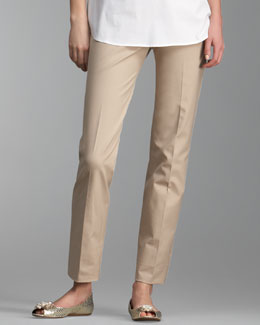 Piazza Sempione Marion Side-Zip Pants, Khaki