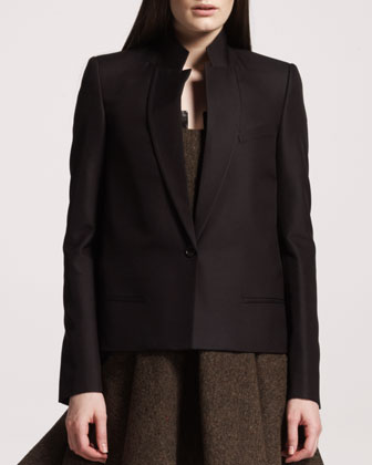 One-Button Wool-Silk Jacket