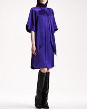 Givenchy Flare-Sleeve Satin Dress