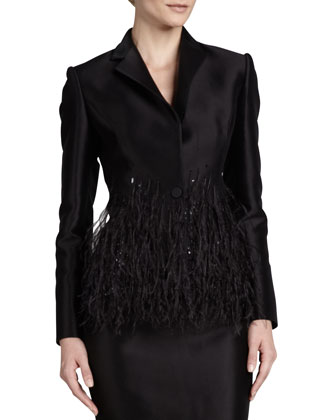 Twill Sequin-Collar Blazer