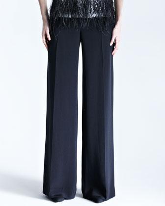 Silk Crepe Wide-Leg Trousers