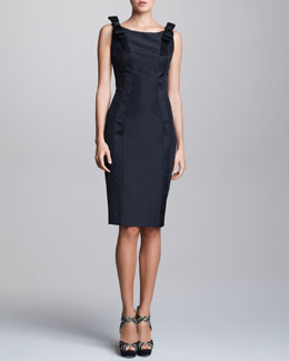 Carolina Herrera Sleeveless Bow-Shoulder Satin Dress