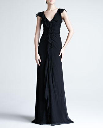 Crinkled Chiffon Gown