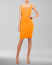 Akris punto Square-Neck Tweed Dress, Mandarin