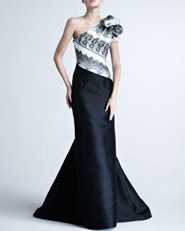 Carolina Herrera One-Shoulder Gown with Striped Bodice