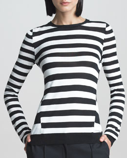 Jason Wu Striped Long-Sleeve Pullover