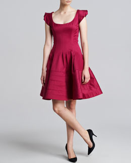 Zac Posen Cap-Sleeve Flounce Dress