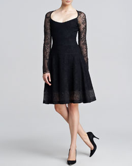 Zac Posen Long-Sleeve Lace-Jacquard Flounce Dress