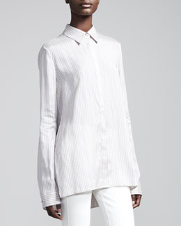 THE ROW Striped Silk Blouse