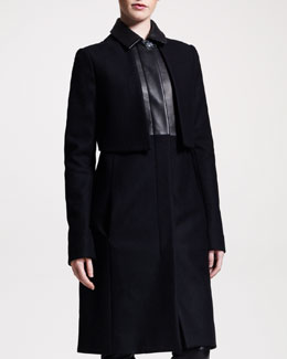 THE ROW Long Leather-Trim Coat