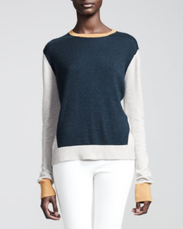 THE ROW Colorblock Cashmere/Silk Pullover