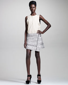 Proenza Schouler Organza-Trim Tweed Wrap Skirt