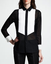 Saint Laurent Two-Tone Voile Blouse