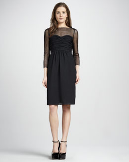 Burberry London Ruched Illusion Dress