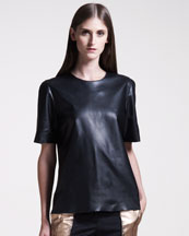 Maison Martin Margiela Side-Zip Leather Tee